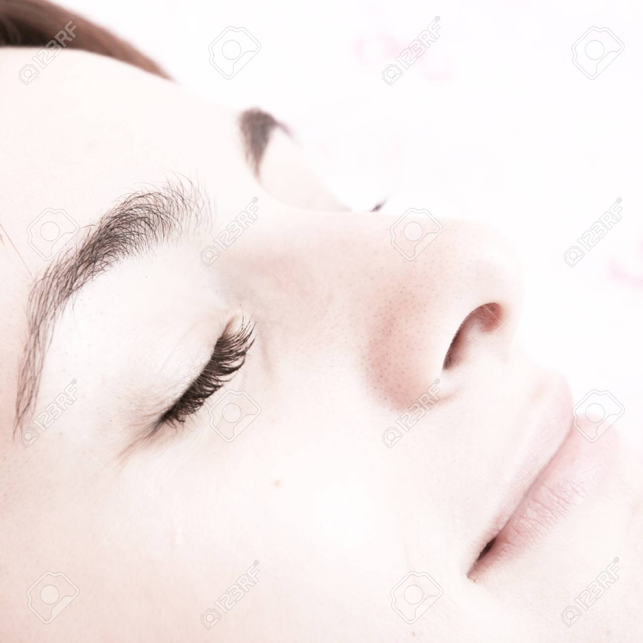 Beautiful young woman sleeping on bed in her bedroom at home in the morning. Stock Photo - 8267687