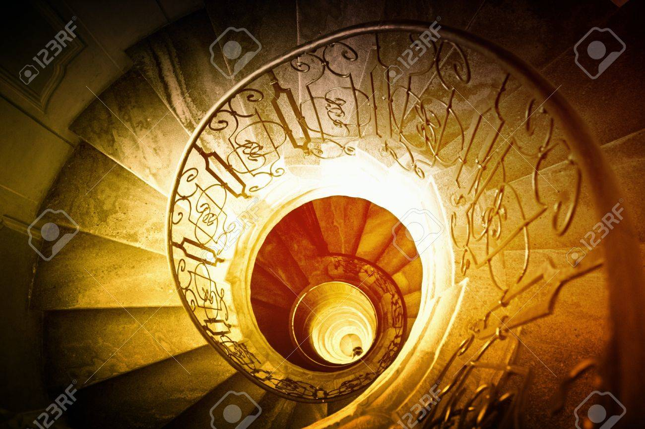 Stock Photo   Very Old Spiral Stairway Case