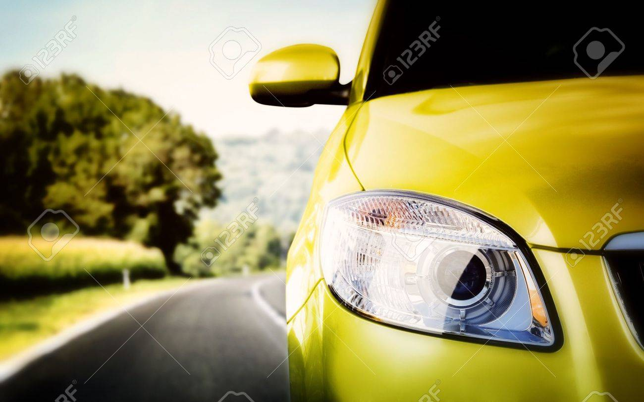 Great Car - Front side, half. On the road. Stock Photo - 13848297