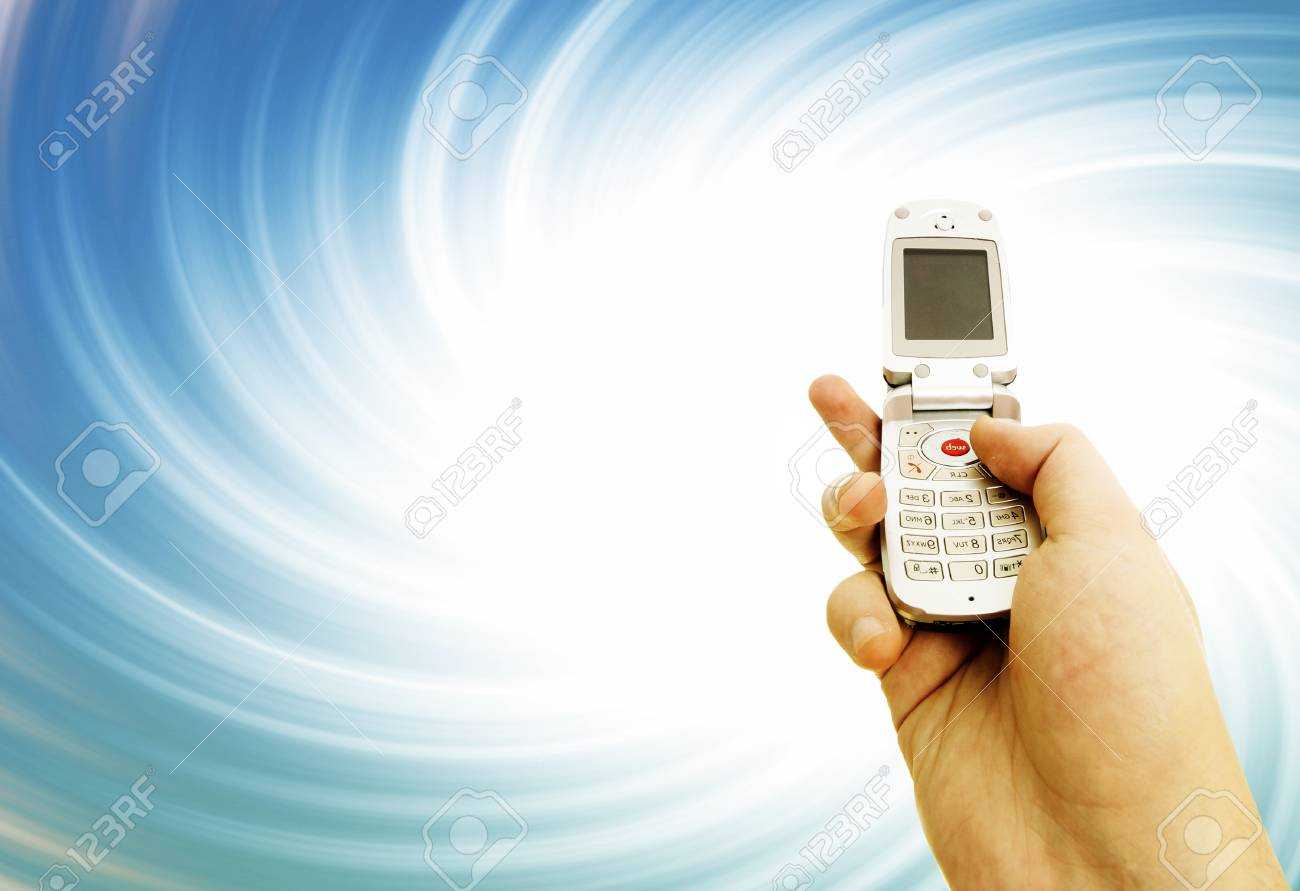 Cell phone in a man hand. Distorting effect Stock Photo - 17607380