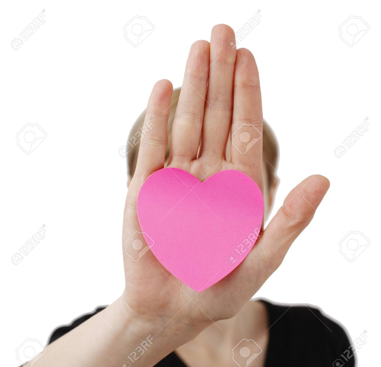 Heart shape Posst It and a Woman Stock Photo - 18029536