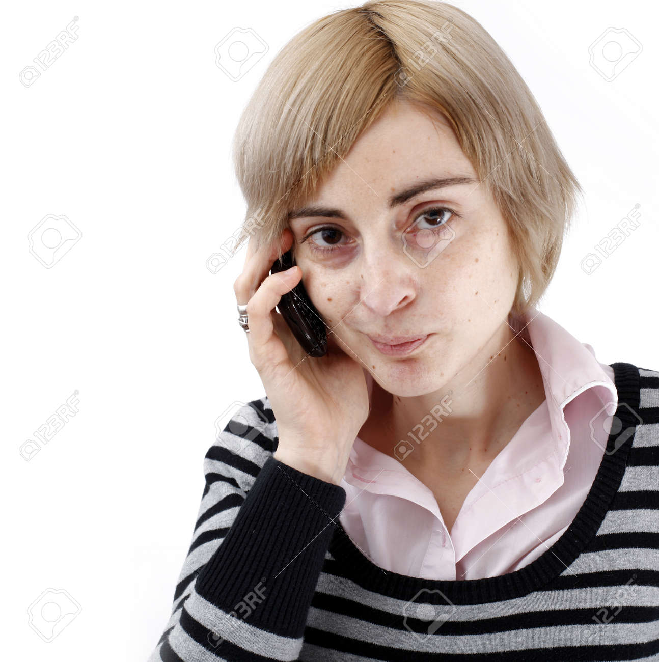Close up photo of a woman talking on phone. Stock Photo - 23159831