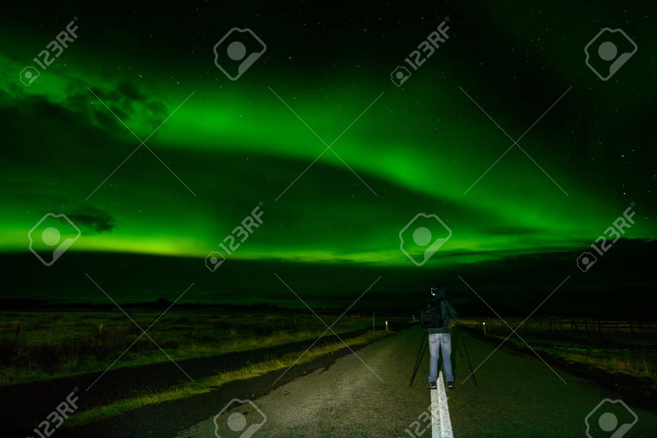 Amazing Northern Lights Over The Iceland Sky The Bright Dancing