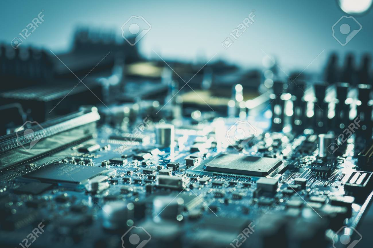 electronic computer hardware motherboard pc technology concept