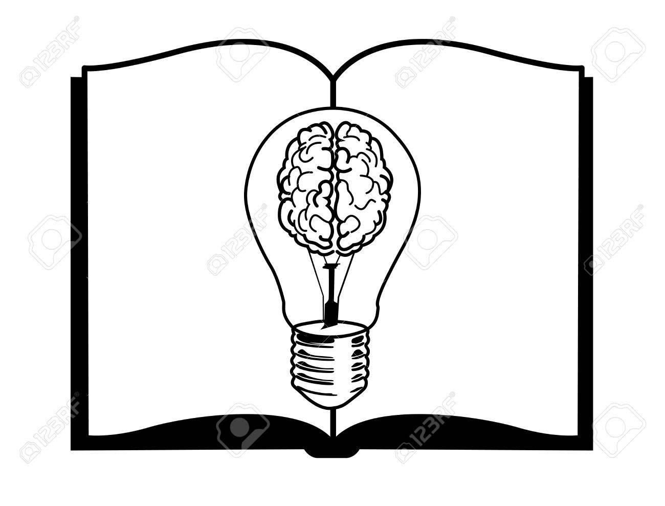Concepto De Inspiración. Lámpara De Cerebro En El Libro Negro Y ...
