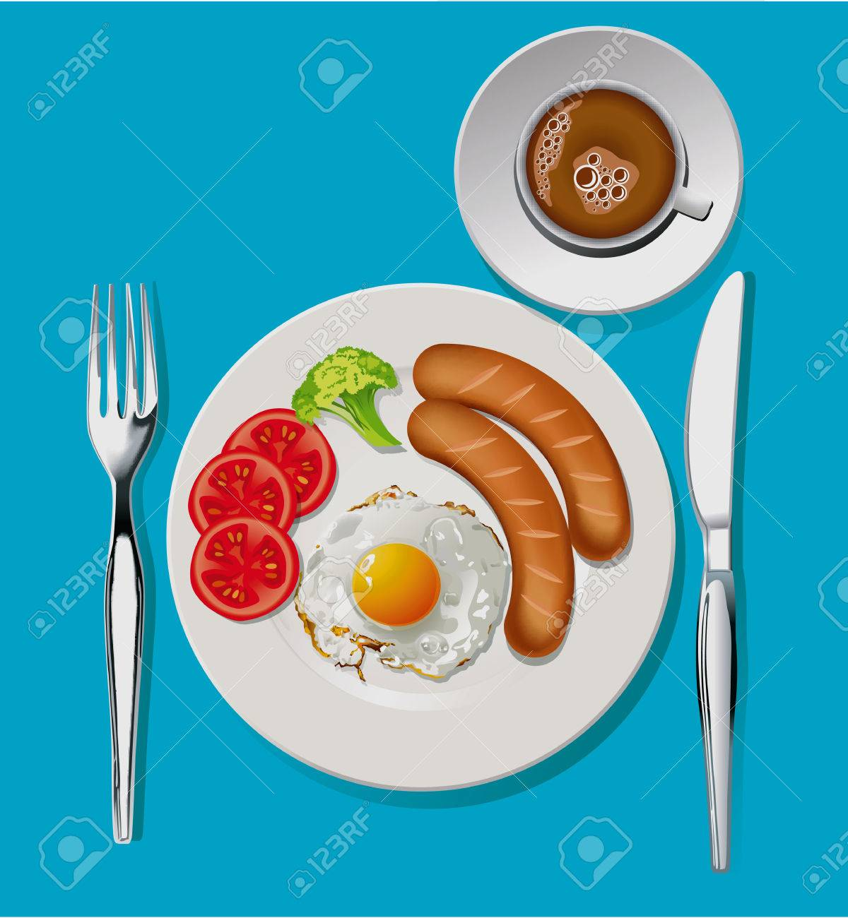 Illustration Of Breakfast Omelet Sausage Broccoli And Tomato Royalty Free Cliparts Vectors And Stock Illustration Image 31071051