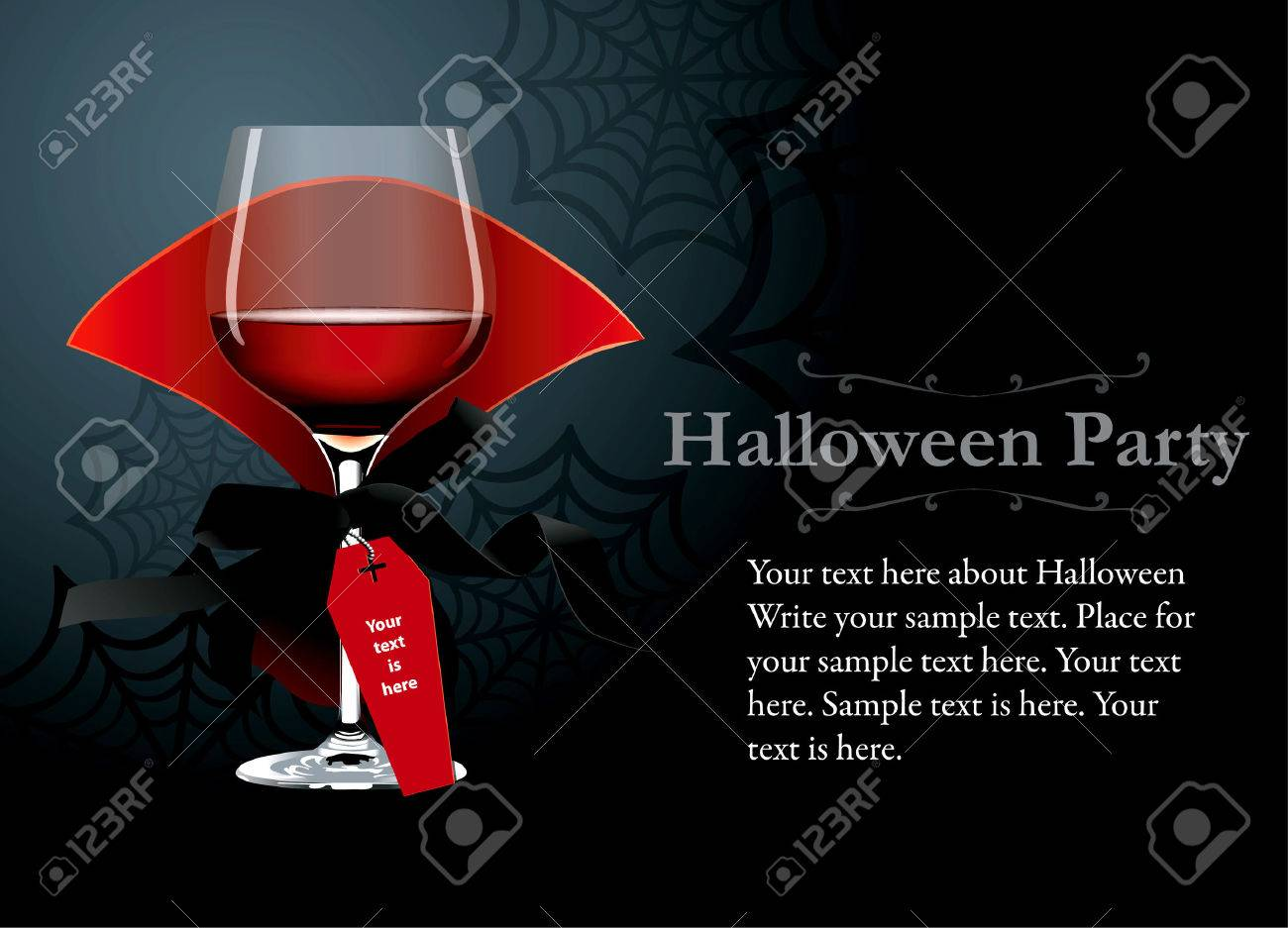 Vector Of Halloween Party Poster, Banner. Red Wine Glass With ...