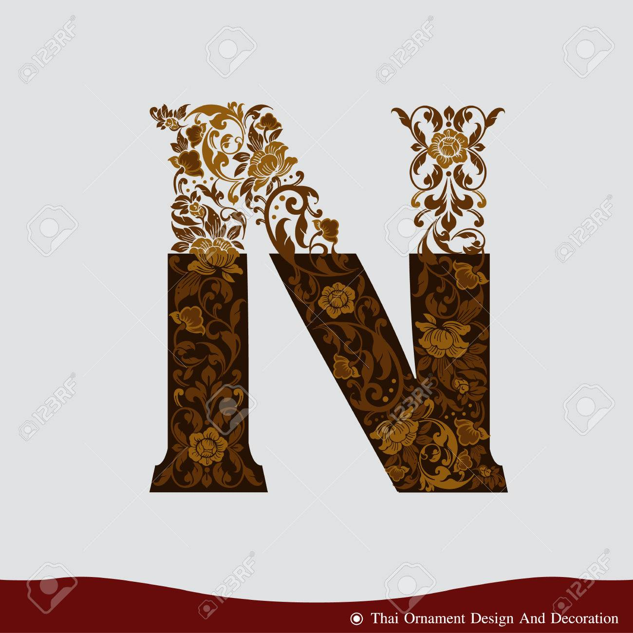 Vector Of Letter N In The Old Vintage Style Abc Concept Type