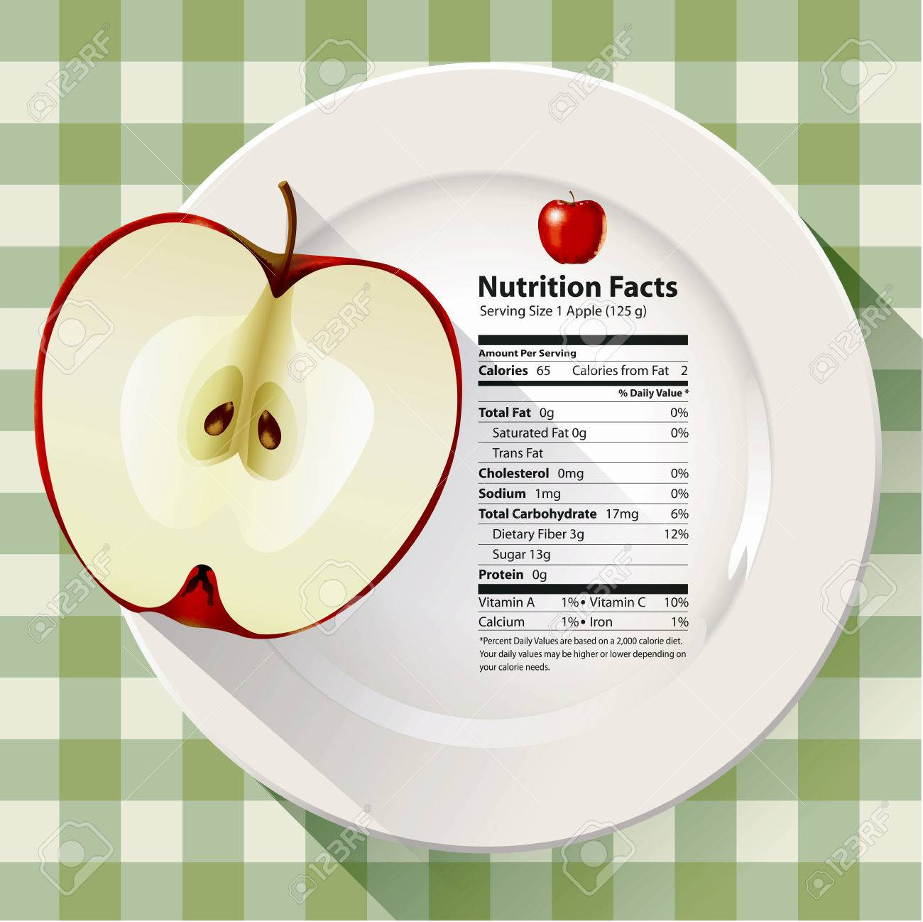 Vector Of Nutrition Facts Apple Royalty Free Cliparts, Vectors ...