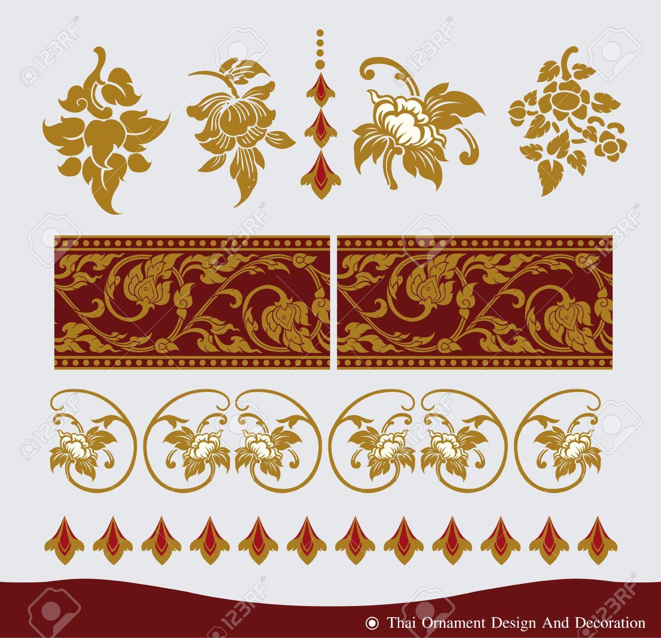 vector of thai ornament vintage frame designthai culture decorative border template design17 design