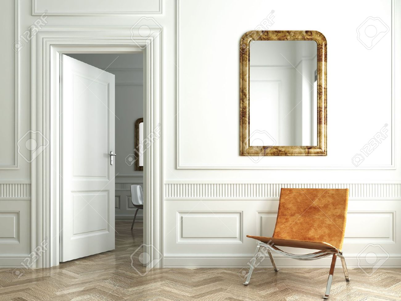 Classic white interior with chair mirrors and open door stock photo classic white interior with chair mirrors and open door stock photo 4327167 planetlyrics Images
