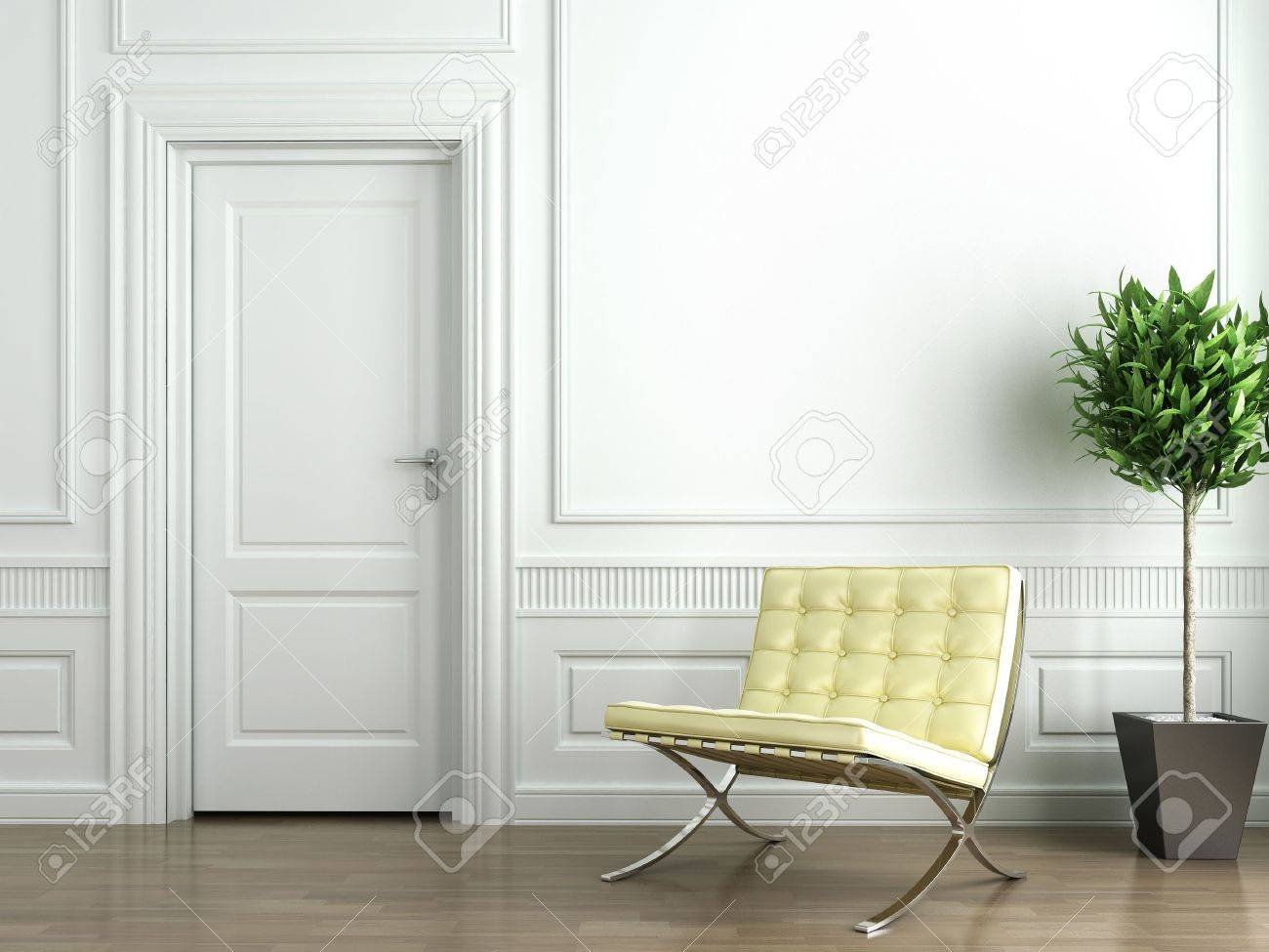 Classic white interior with chair and plant Stock Photo - 4327166
