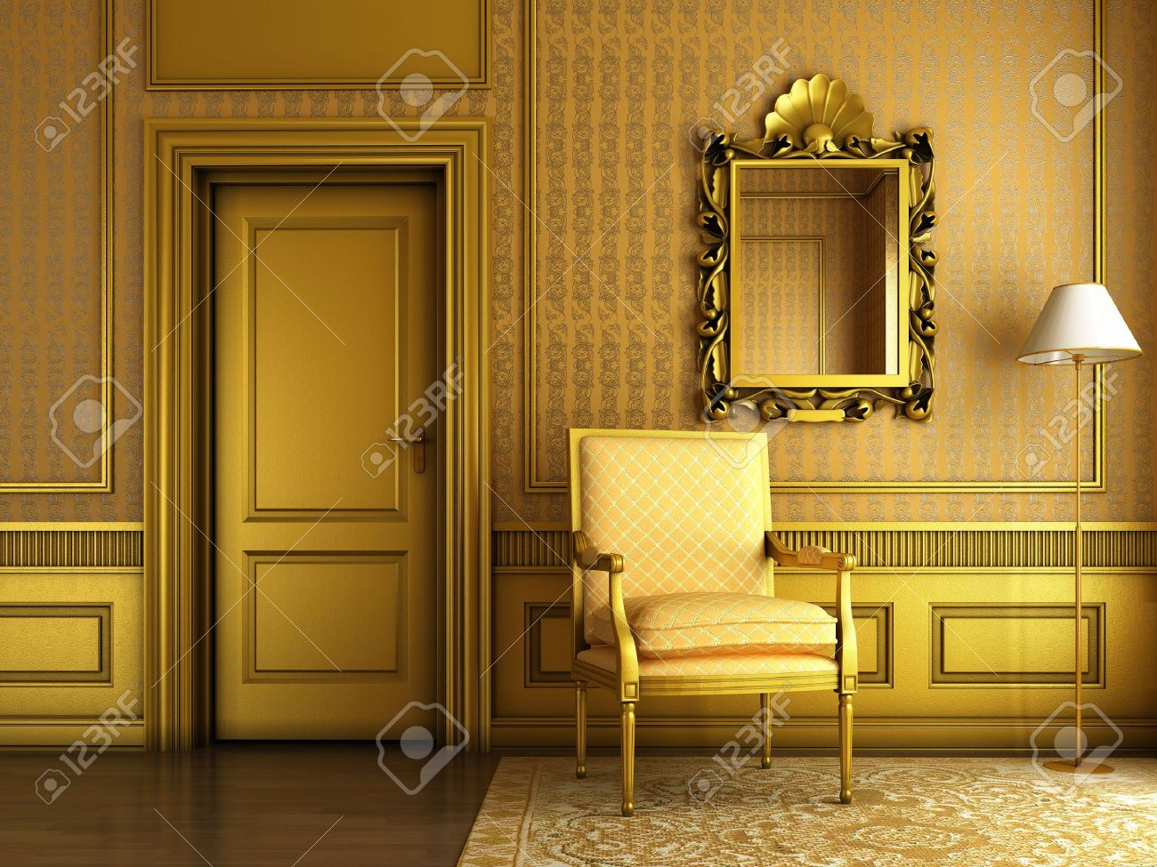 Superieur Interior Scene Of Luxury Living Room With Lots Of Golden Molding And  Furniture Stock Photo