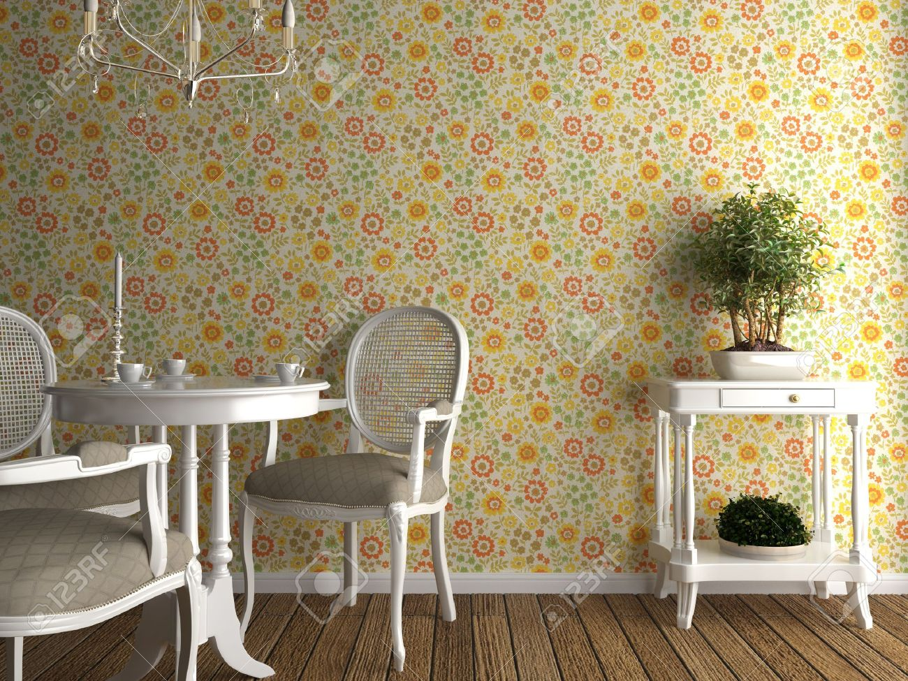 home interior with flowery wallpaper and white furniture Stock Photo    4396910. Home Interior With Flowery Wallpaper And White Furniture Stock