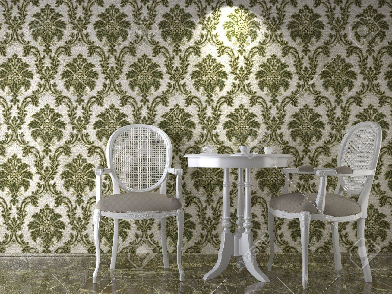 interior design with cassical flowery wallpaper in green stock photo