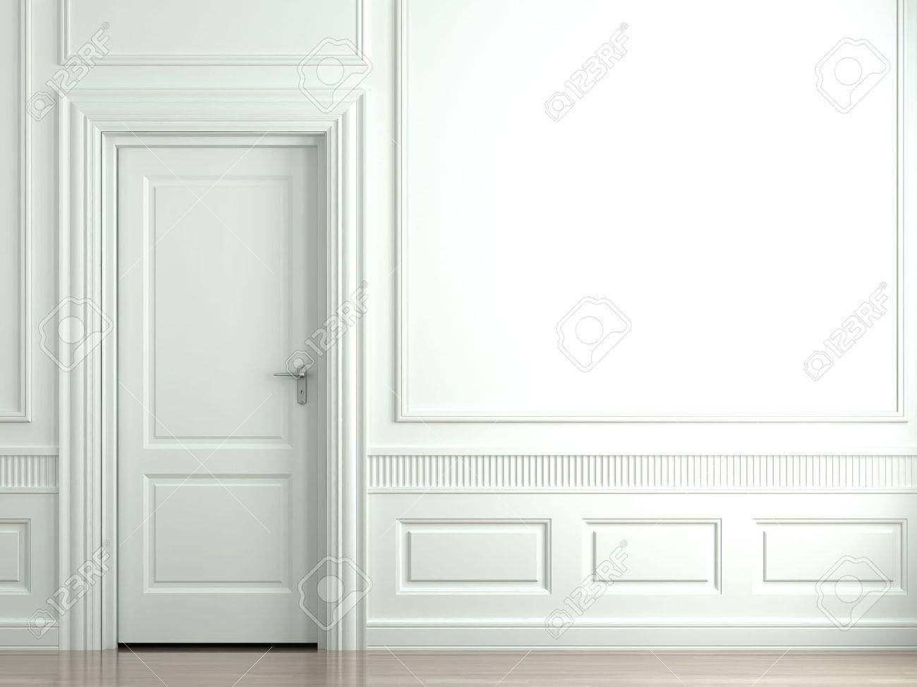 3d Sc Ne D Un Mur Blanc Classique Avec Des Portes Et Moulures Banque