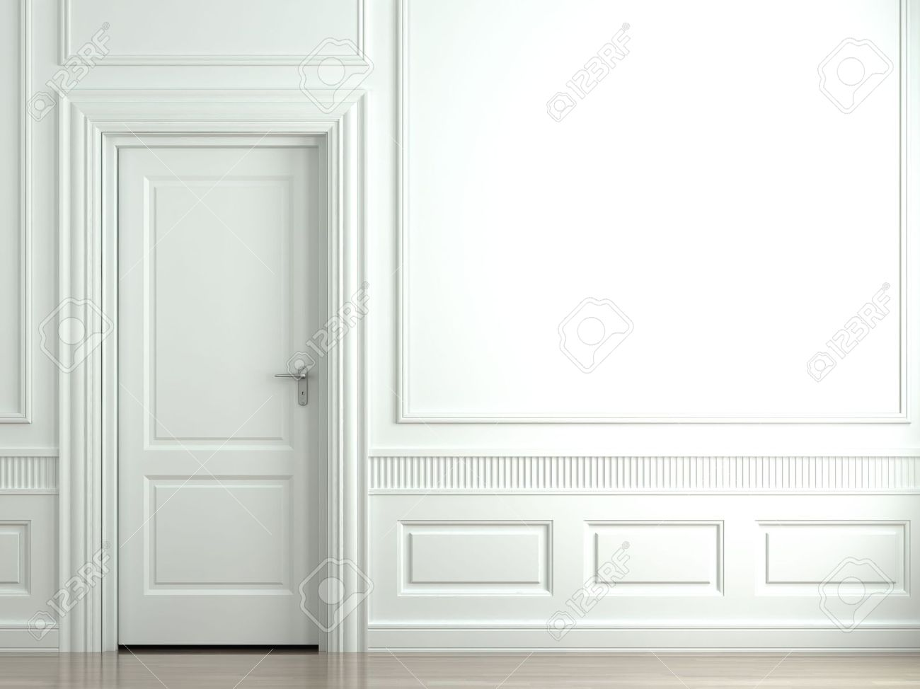3d scene of a white classic wall with door and moldings Stock Photo - 4574376