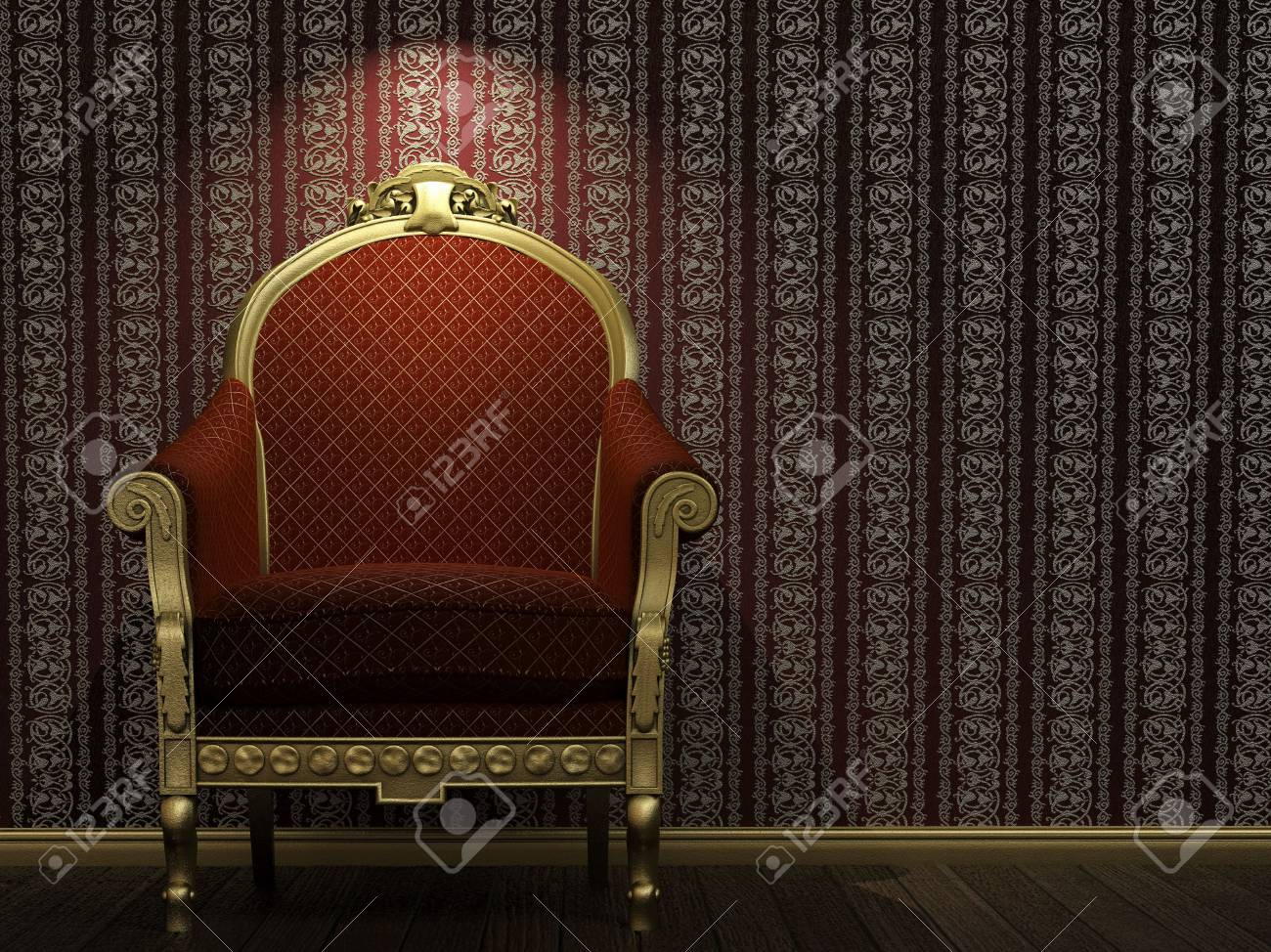 golden and red classic armchair under a bright spotlight Stock Photo - 4574418