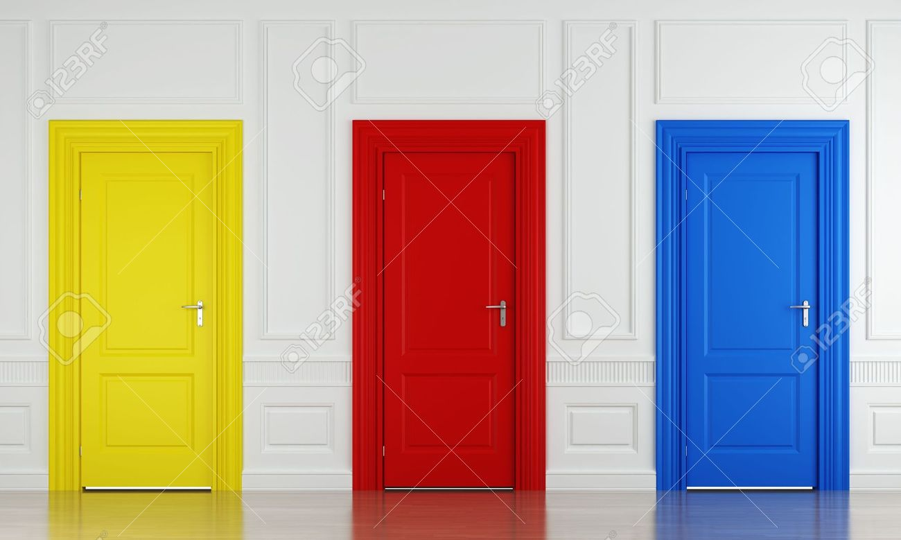 3d scene with three color doors in a wall as concept for choice or luck Stock & 3d Scene With Three Color Doors In A Wall As Concept For Choice ...
