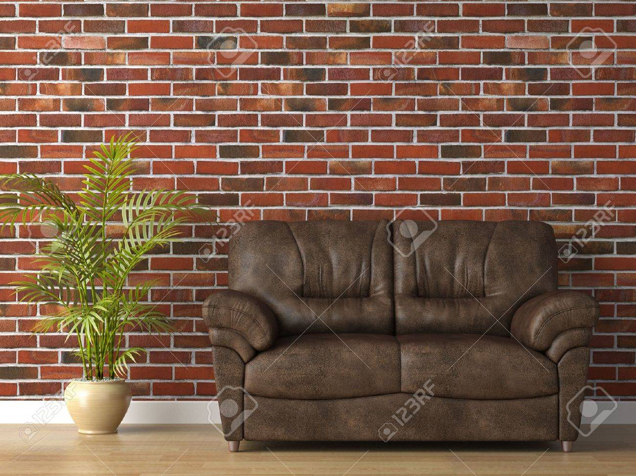 interior 3d scene of leather couch on brick wall royalty fre