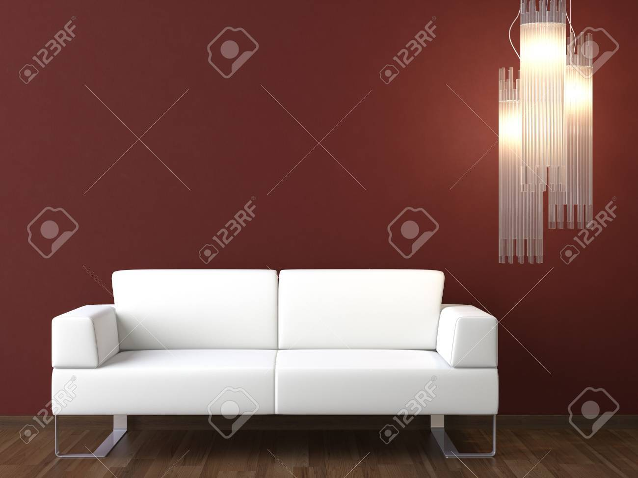 Modern White Couch interior design of modern white couch and lamp on bordeaux wall