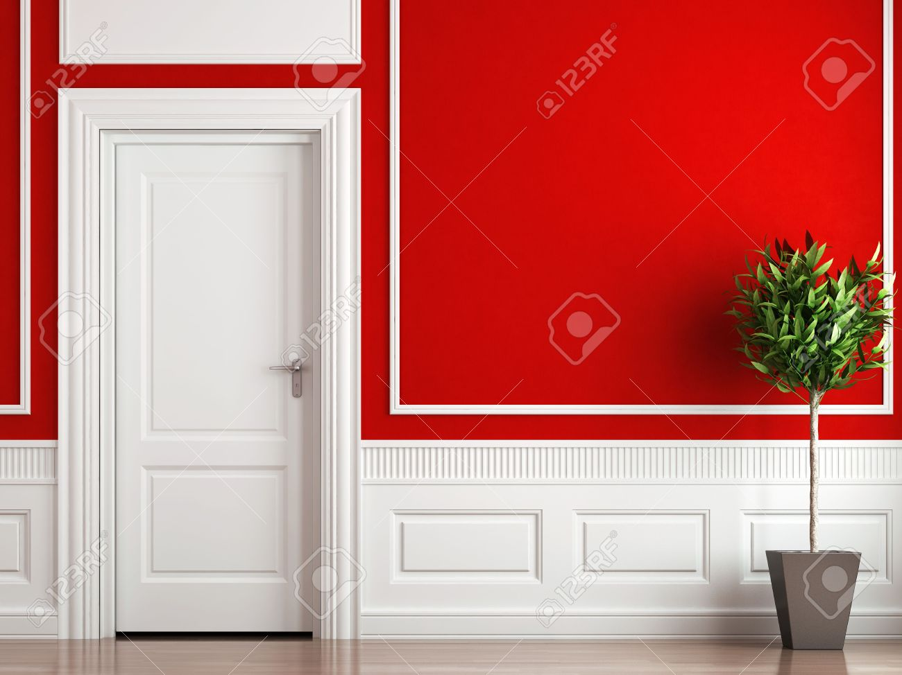 Interior design classique de la chambre en rouge et blanc ...