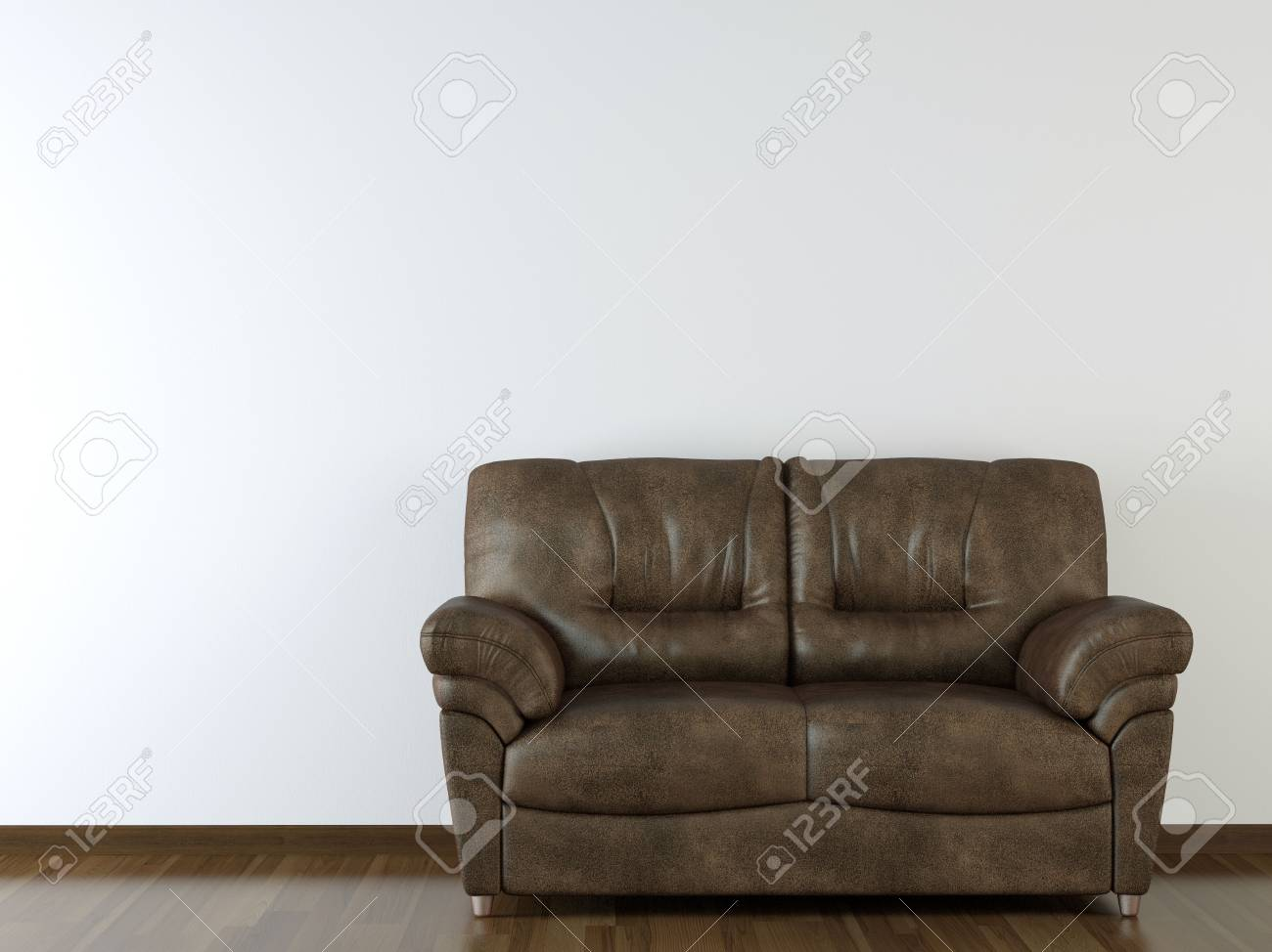 interior design brown leather couch on white wall with copy space Stock Photo - 4787392