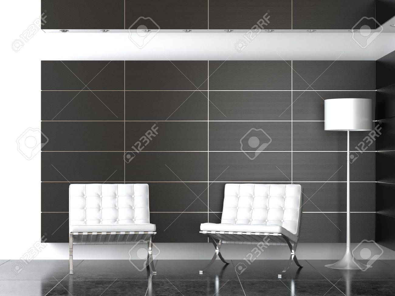 Tremendous Interior Design Of Modern Reception With Two Barcelona Chairs Ibusinesslaw Wood Chair Design Ideas Ibusinesslaworg