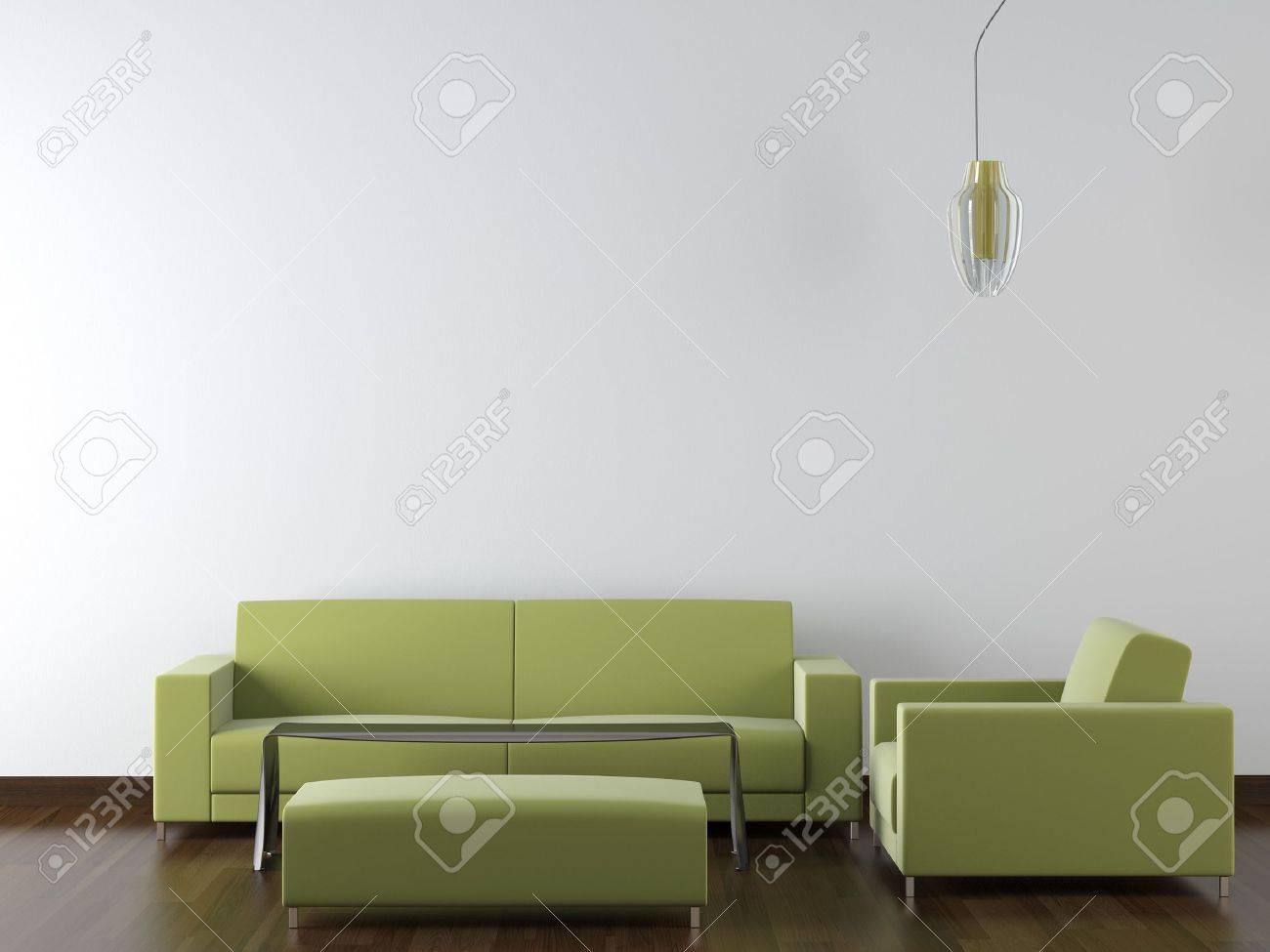 Design Der Modernen Grünen Wohnzimmermöbel Gegen Weiße Wand Mit ...