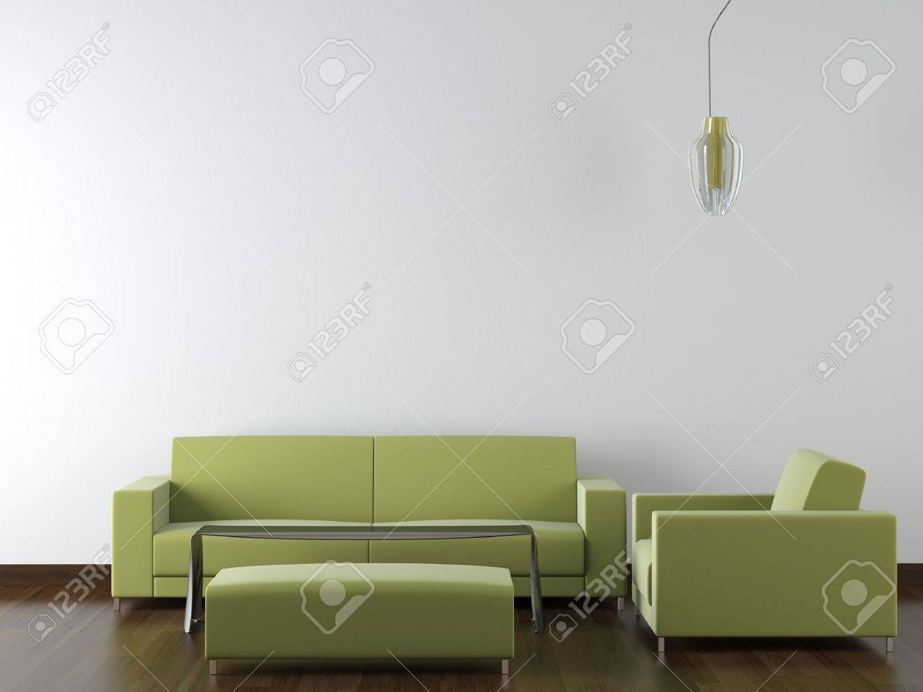 Modern living room furniture green - Interior Design Of Modern Green Living Room Furniture Against White Wall With A Lamp Hanging And