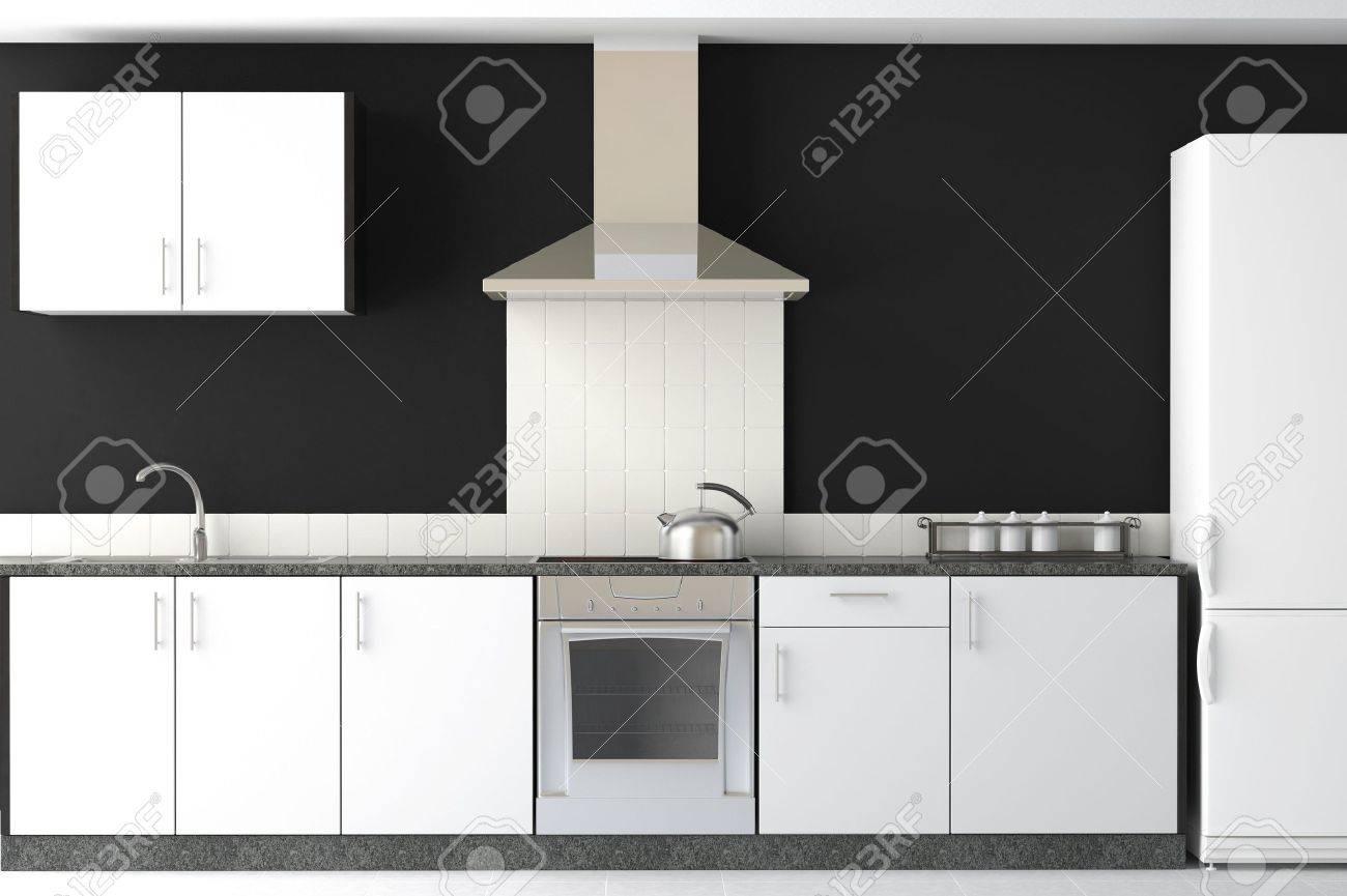 Interior Design Pulito E Moderno Di Cucina In Bianco E Nero Foto ...