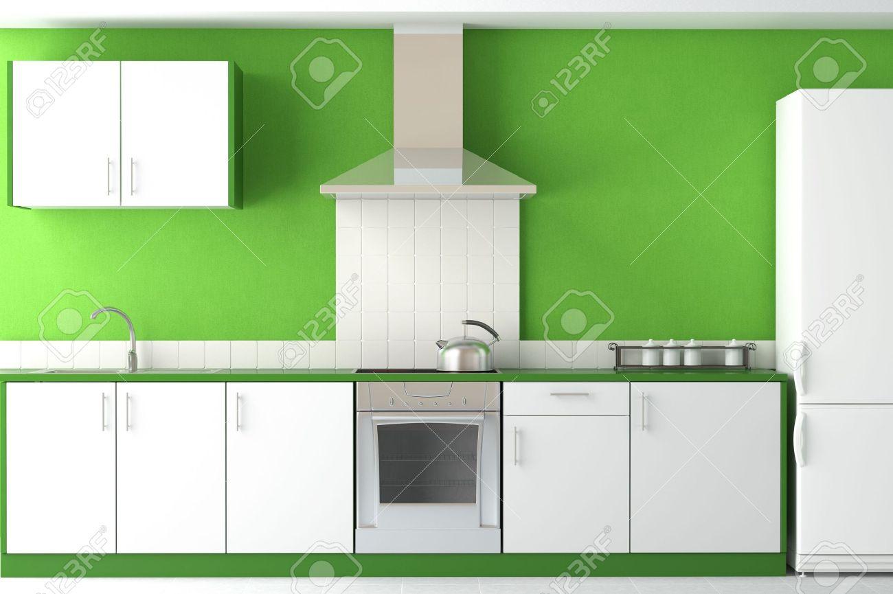 interior design of clean modern green and white kitchen stock