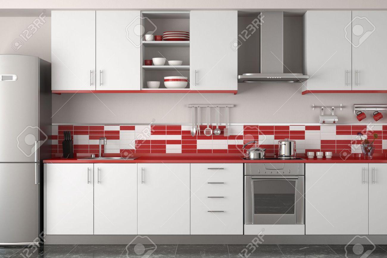 Interior Design De La Cuisine Moderne Et épuré Rouge Et Blanc Banque ...