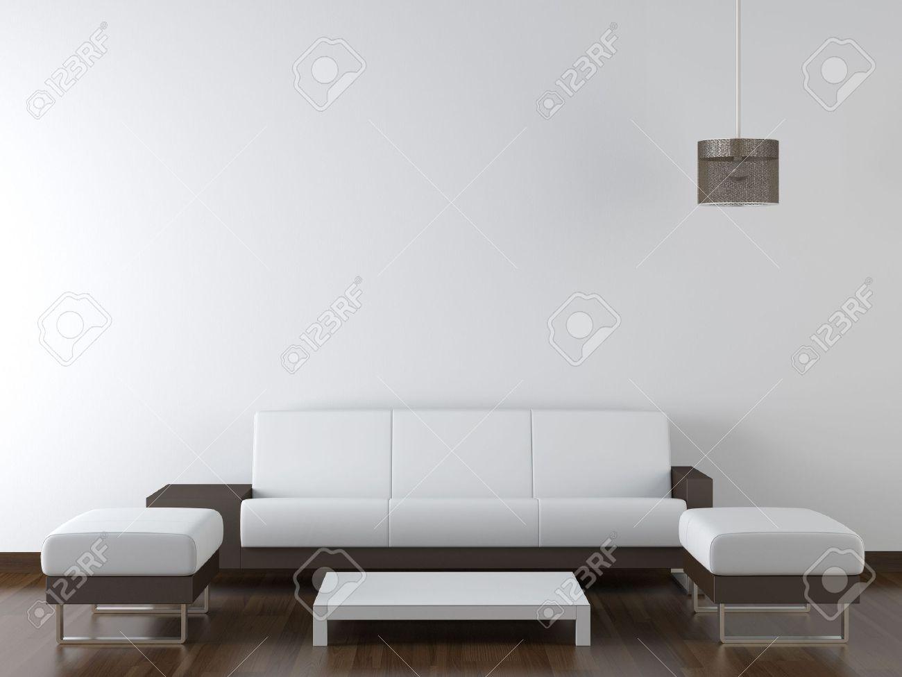 Interior Design Der Modernen Weiß Und Braun Wohnzimmer Möbel Weiße Wand Mit  Einer Lampe Hängenden