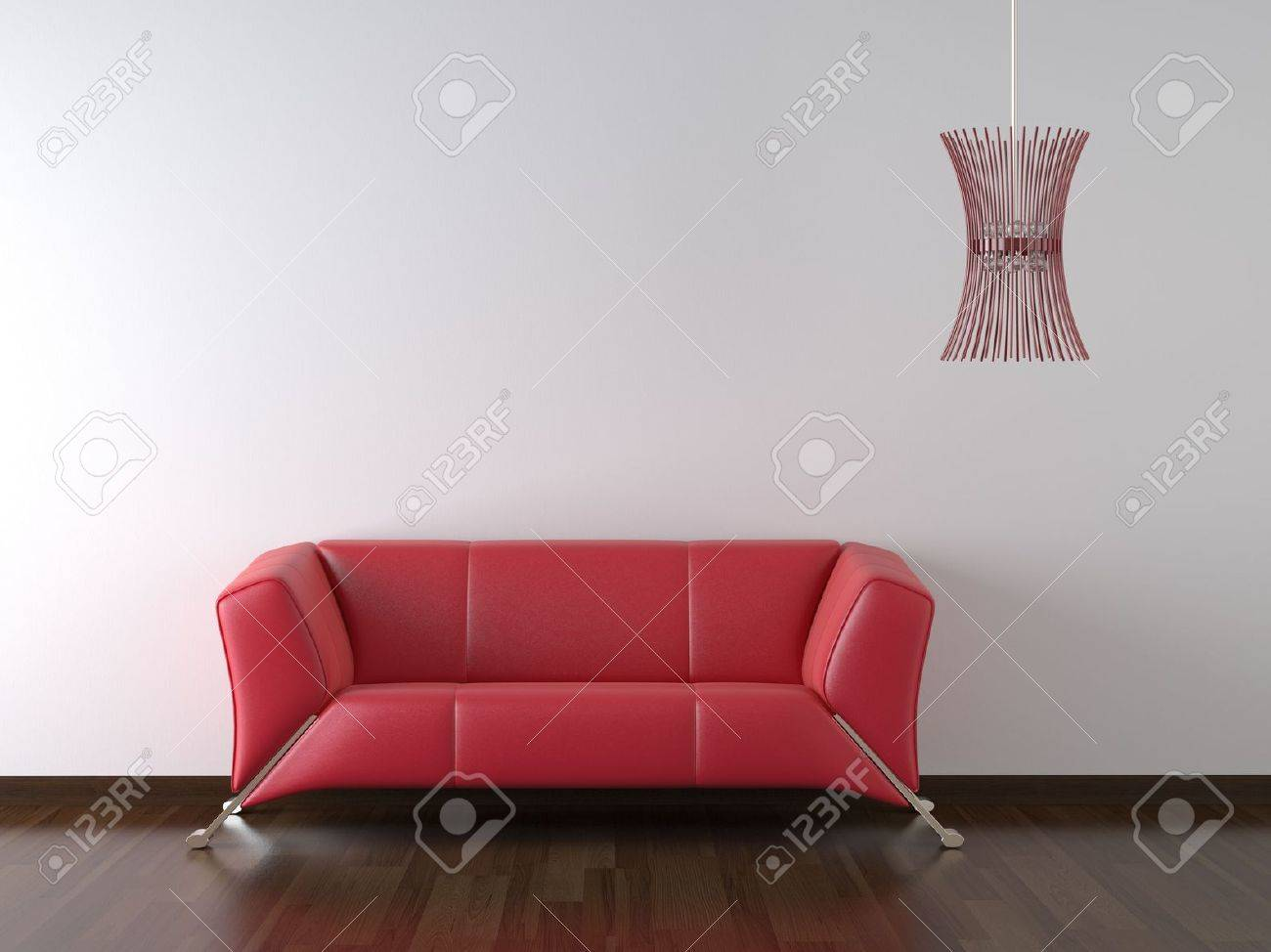interior design red leather couch and lamp on white wall with copy space Stock Photo - 4902721