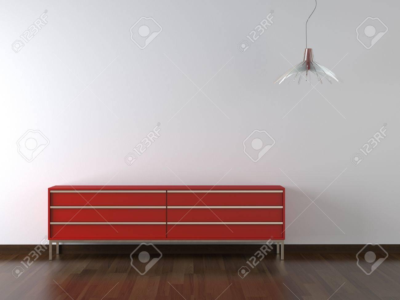 meubles design d'intérieur et d'une lampe rouge sur le mur blanc ... - Copie De Meuble Design