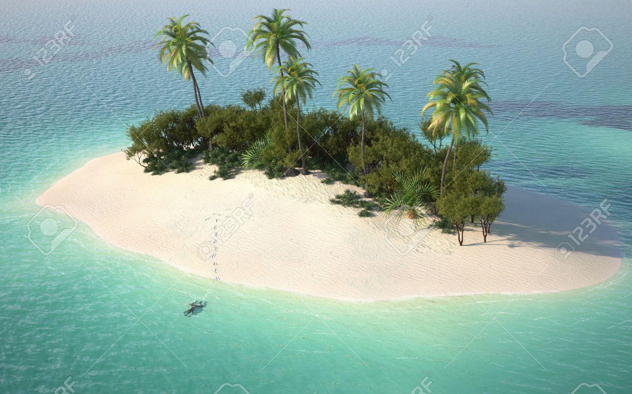 Vista Aérea De Una Isla Desierta Del Caribe En Las Aguas De Color ...