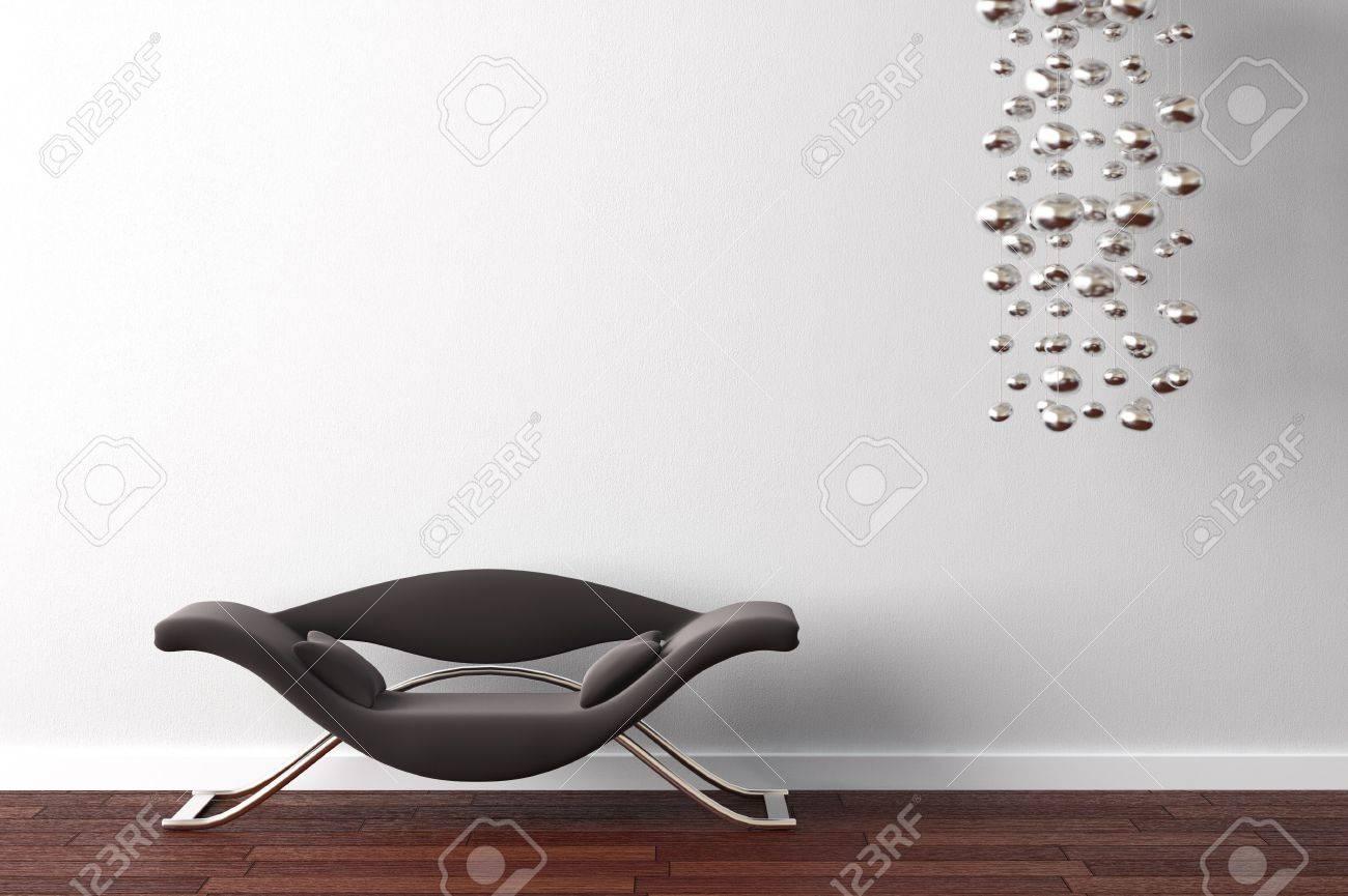 Design Intérieur Od Fauteuil Noir Moderne Et Lampe Pendante Sur Le