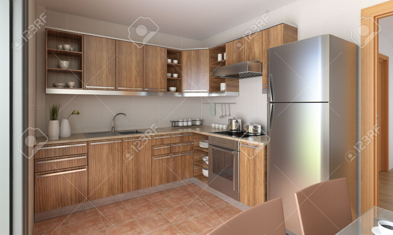 Interior design d'une cuisine moderne en beige et bois. il s'agit ...