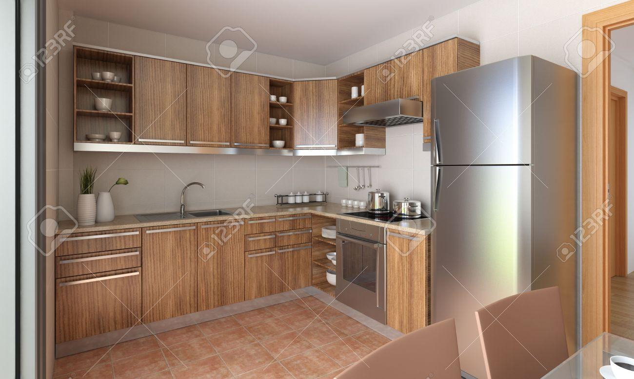 De Diseño Interior De Una Cocina Moderna En Color Canela Y Madera ...