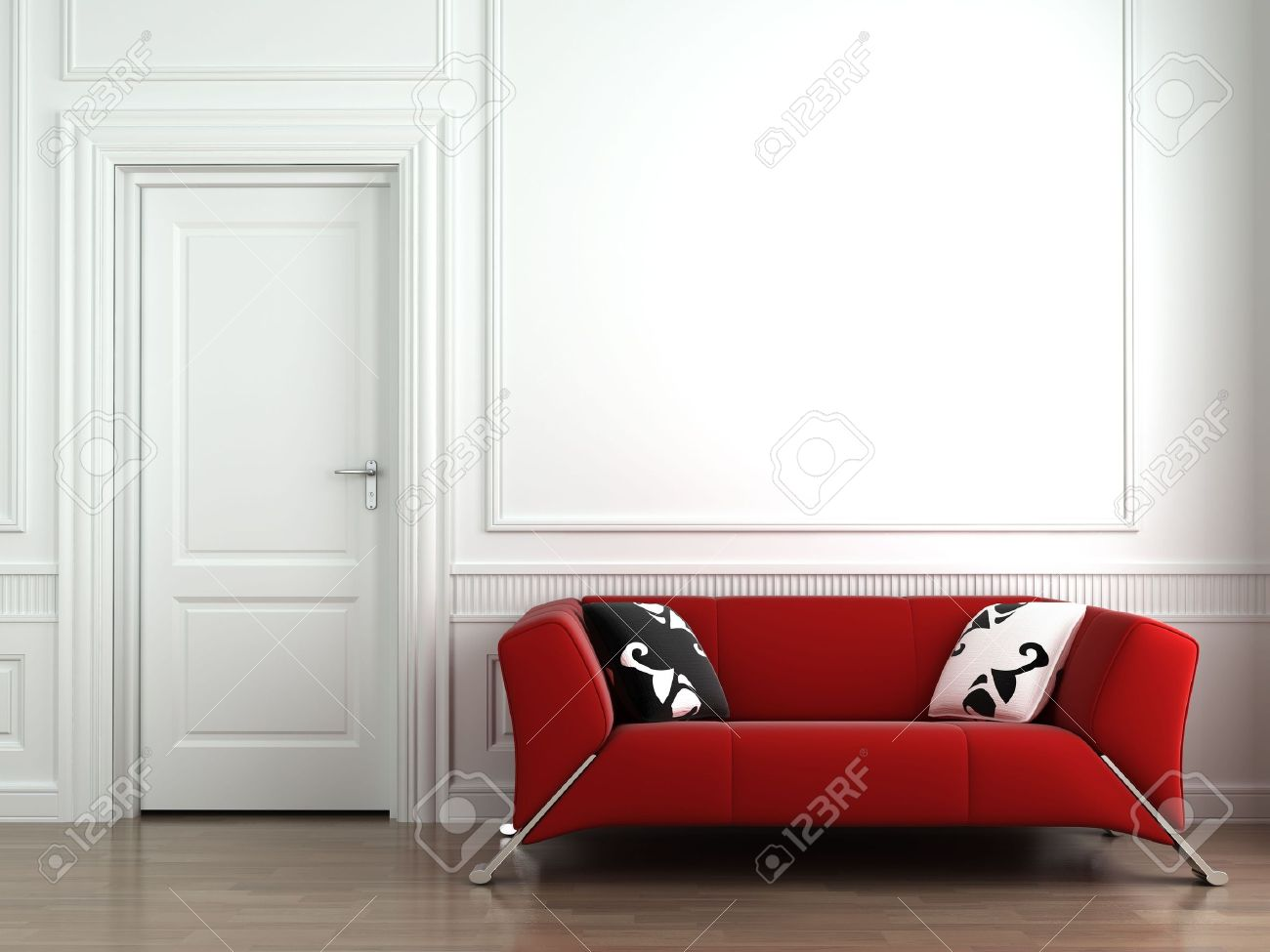 3d Interior Scene Of A Red Couch On White Classic Wall. This.. Stock ...