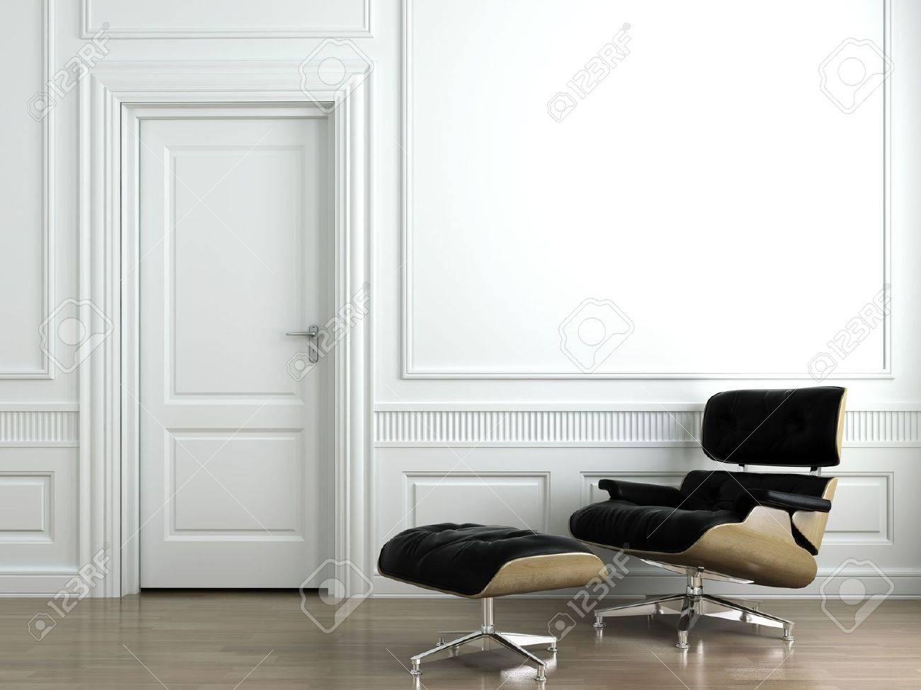 Klassiek Wit Interieur : D scène van lederen fauteuil op wit klassiek interieur muur dit