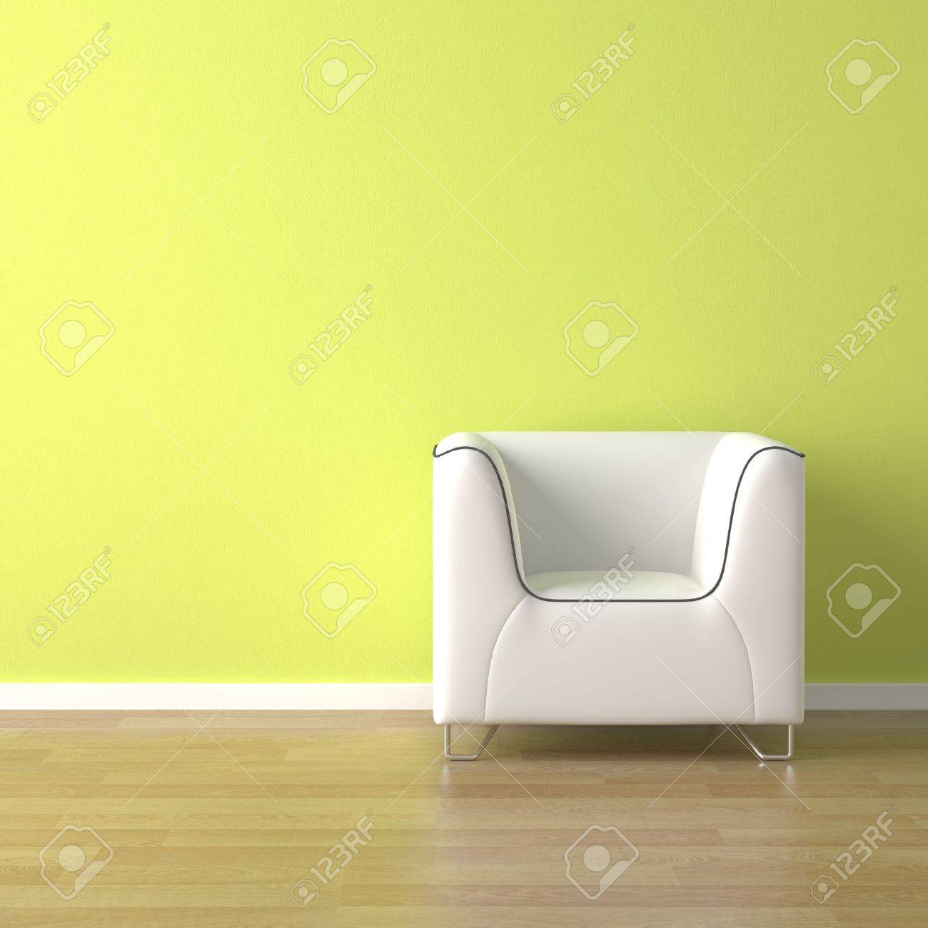 interior design scene white couch on a green wall background with copy space Stock Photo - 5453599