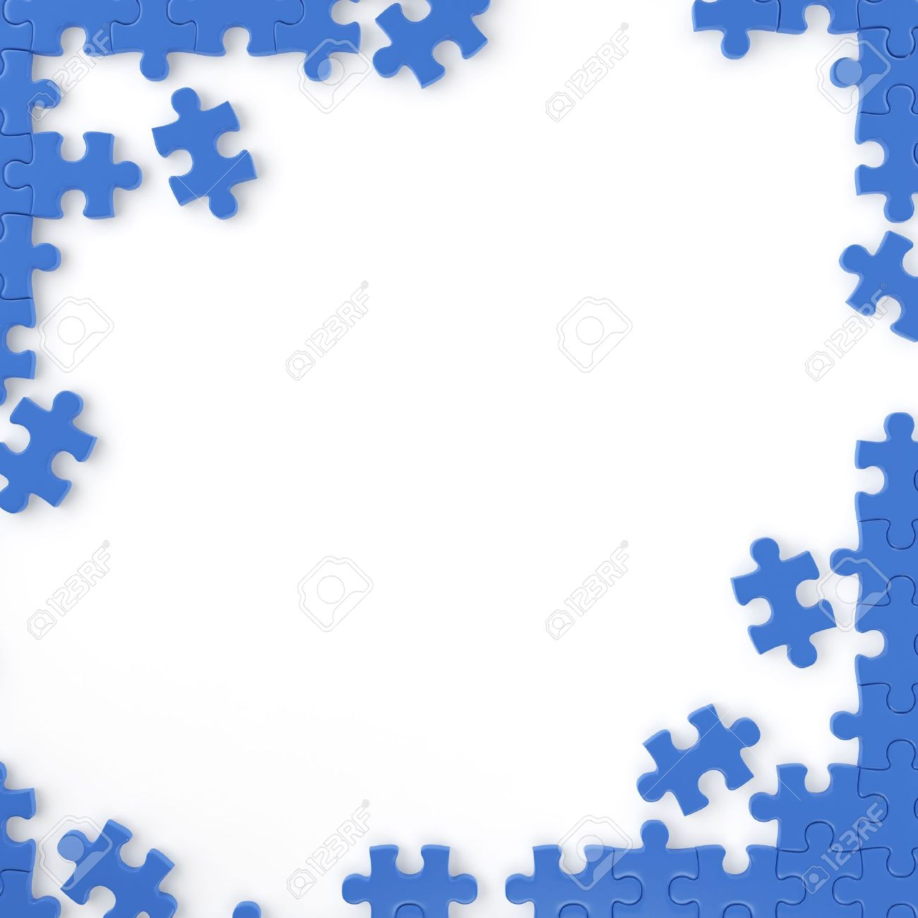 puzzle pieces forming a frame for your own text or design with