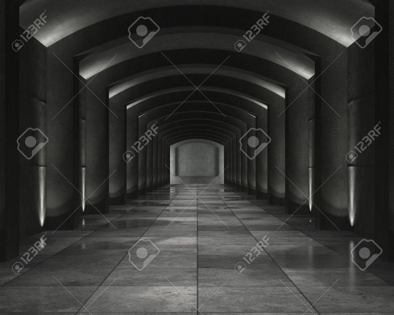 grunge background of an interior concrete vault with interesting spot lighting Stock Photo - 6052812