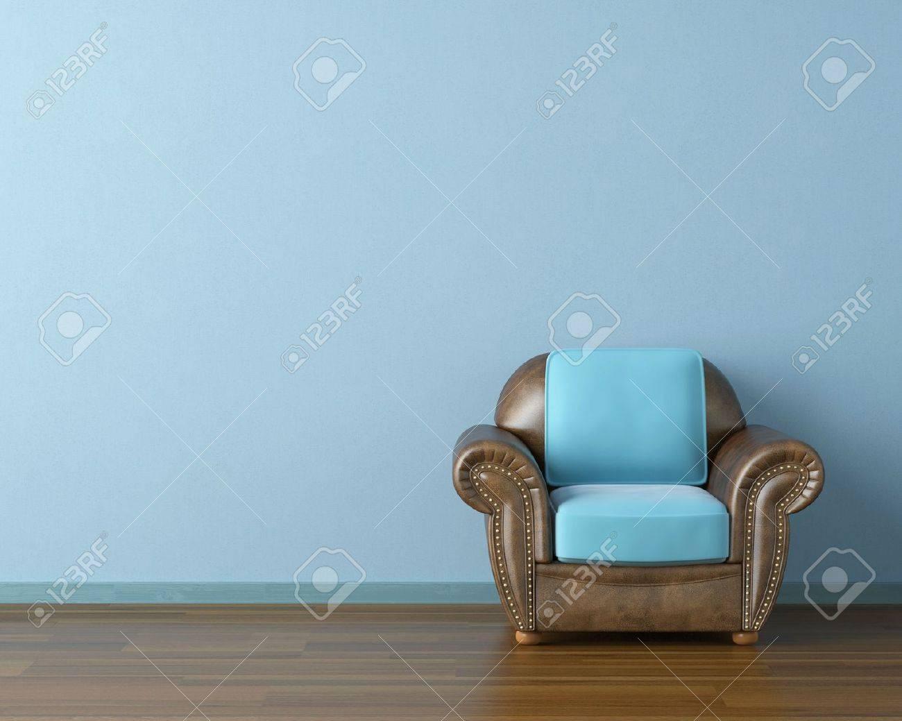 Moderne Bruin Leren Bank.Interieur Design Sca Ne Met Een Moderne Bruin Lederen Bank En Lamp Op Blauwe Muur