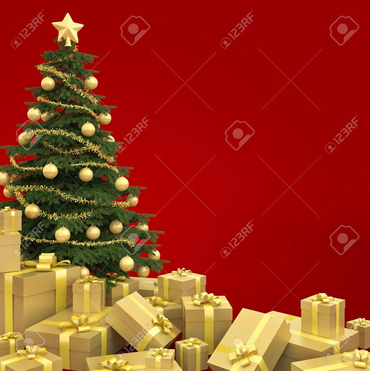 Golden decorated christmas tree with many presents isolated against a red background Stock Photo - 7882207