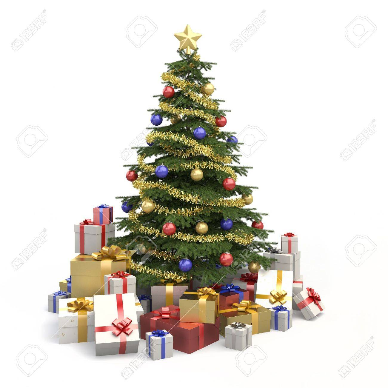 fully decorated christmas tree with many presents and isolated on white background stock photo 7882221
