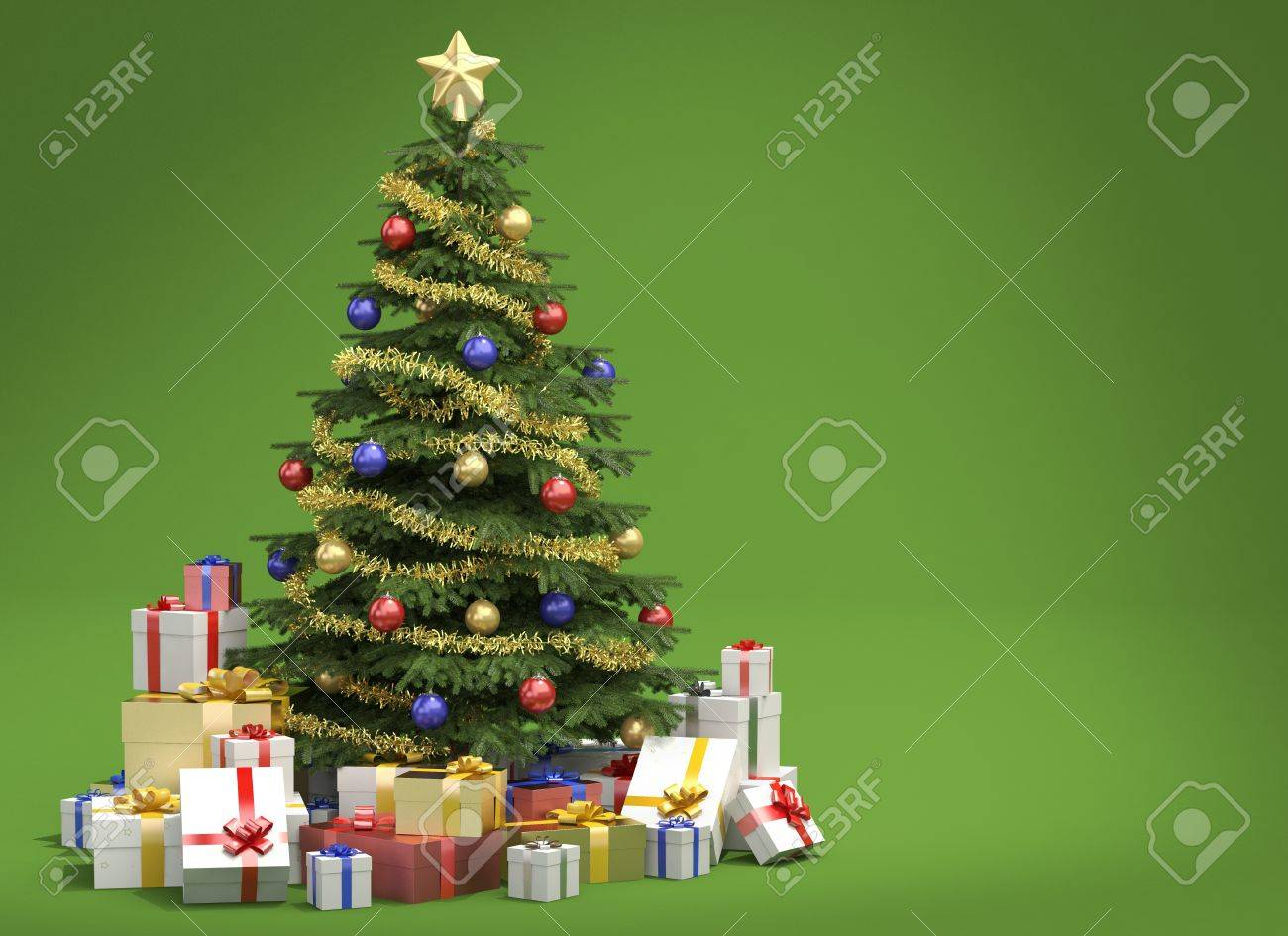 fully decorated christmas tree with many presents isolated on green background with copy space on the