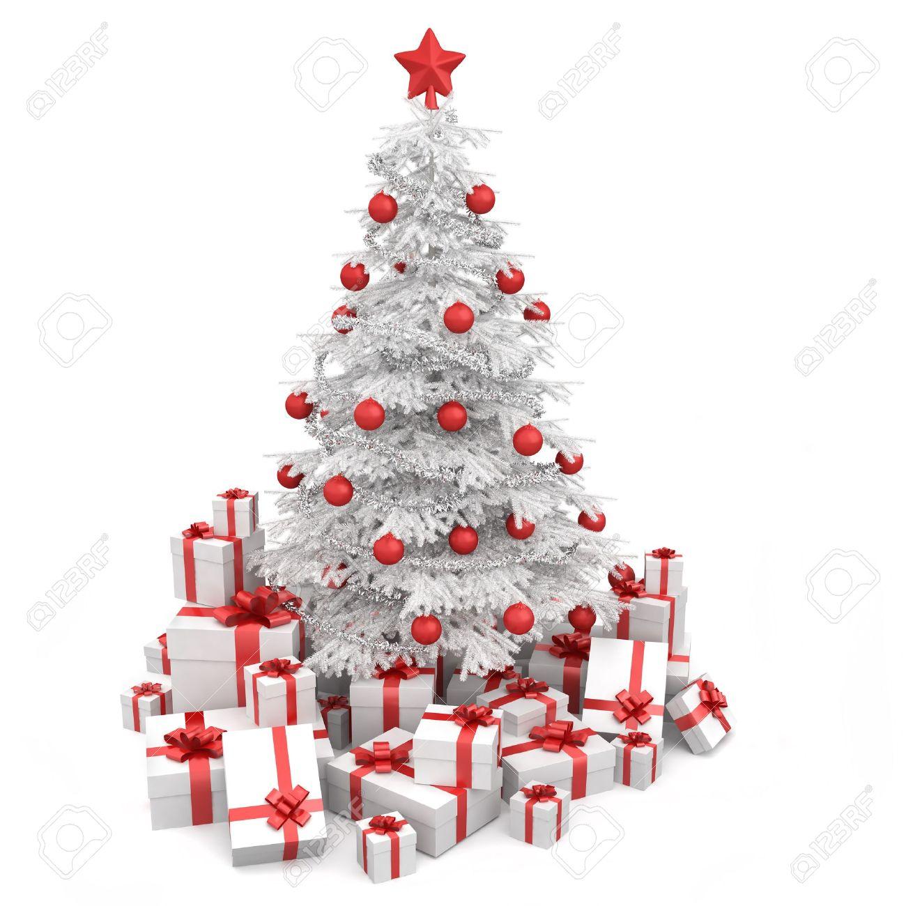 blanco y rojo rbol de navidad decorado con muchos regalos y aislados en blanco foto de